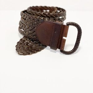 Brown Braided Leather Belt Size Small